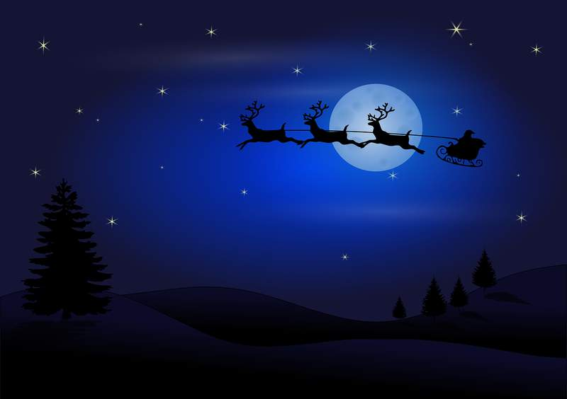 Santa and his reindeer fly across the night's sky.