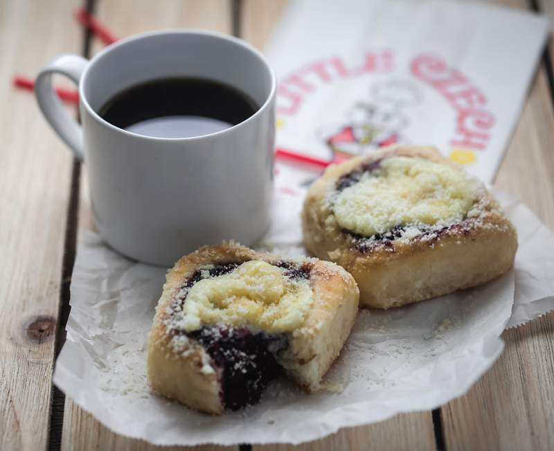 Coffee and a blueberry kolache from the Czech Stop.