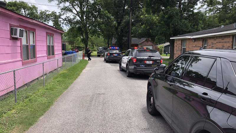 An image released by Houston police of the shooting scene in the 3200 block of Wayne on July 7, 2021.