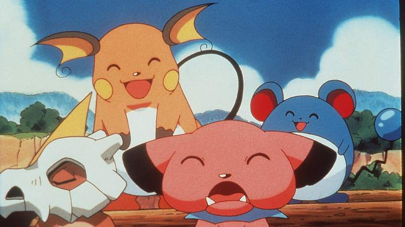 "Cubone, Raichu, Snubble And Marrill In The Animated Movie ""Pokemon:The First Movie."""