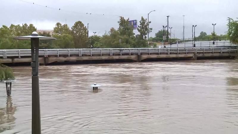Buffalo Bayou out of its banks due to Beta rainfall