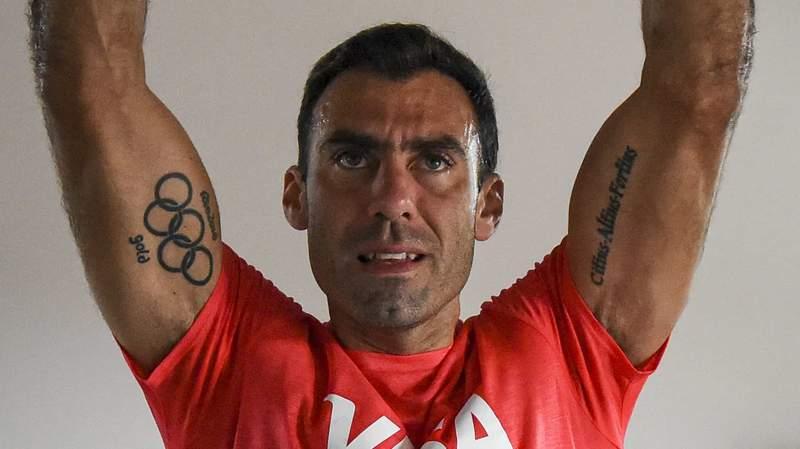 Juan Manuel Vivaldi's Olympic tattoo is on full display during training.