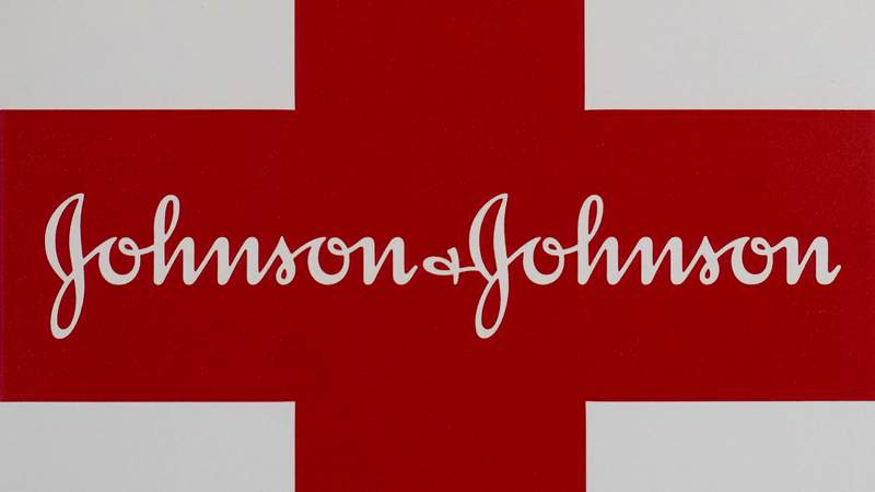 FILE - This Feb. 24, 2021 file photo shows a Johnson & Johnson logo on the exterior of a first aid kit in Walpole, Mass.  Johnson & Johnson reported strong second-quarter profit and revenue, Wednesday, July 21,  as the health care industry recovers from the effects of the coronavirus pandemic and it raised its expectations for the year for both.   (AP Photo/Steven Senne, file)
