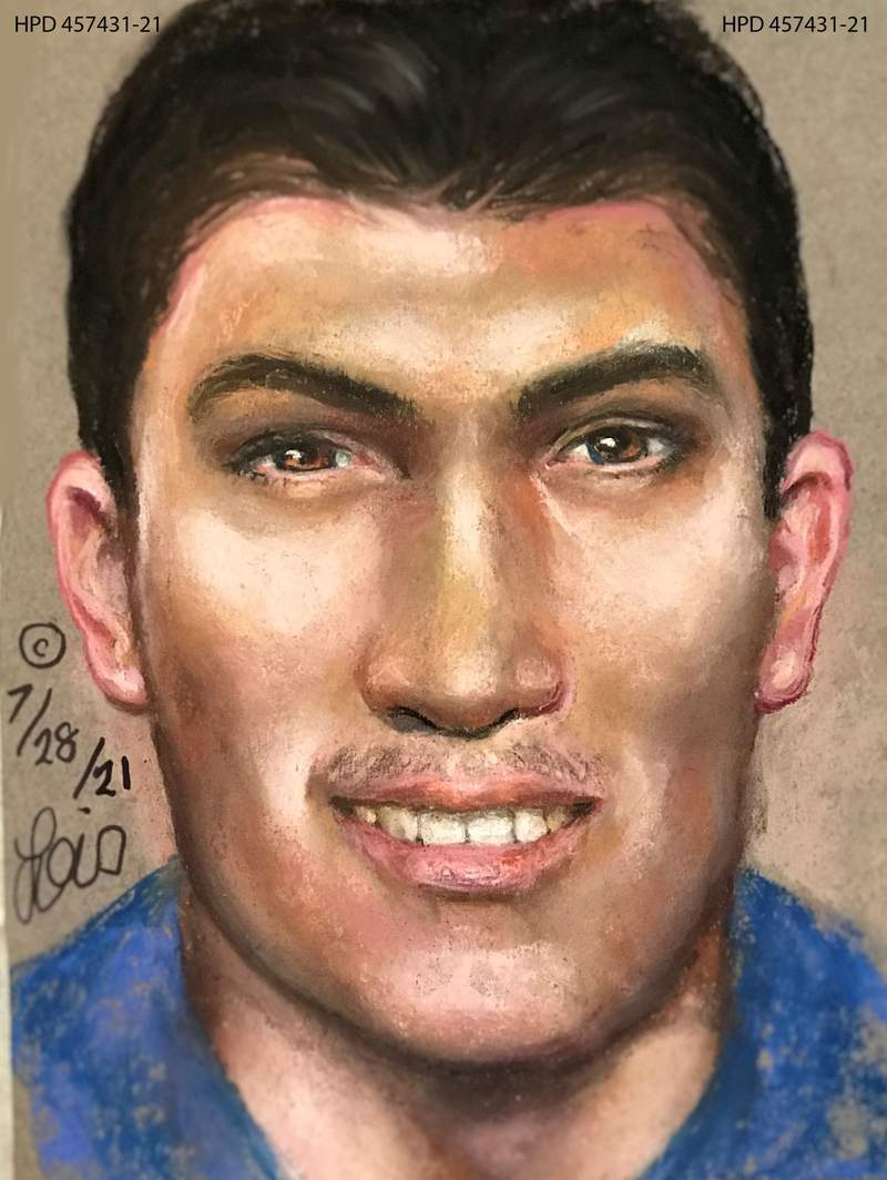 Sketch created by Lois Gibson based on skeletal remains found in an east Houston field on April 7, 2021.
