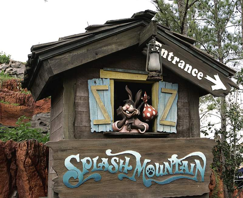 """In this March 21, 2007 file photo, the character Brer Rabbit, from the movie, """"Song of the South,"""" is depicted near the entrance to the Splash Mountain ride in the Magic Kingdom at Walt Disney World in Lake Buena Vista, Fla. The Splash Mountain ride at Disney parks in California and Florida is being recast. Disney officials said the ride would no longer be tied to the 1946 movie, """"Song of the South,"""" which many view as racist. Instead, the revamped ride will be inspired by the 2009 Disney film, """"The Princess and the Frog,"""" which has an African-American female lead. (AP Photo/John Raoux, File)"""