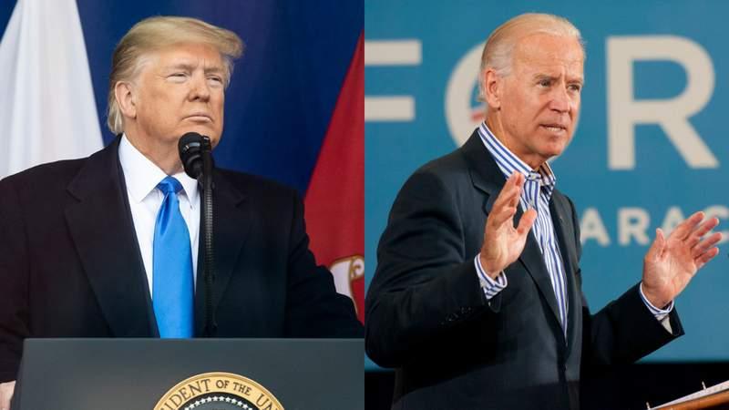 Left: President Donald J. Trump. Right: Former Vice President Joe Biden.