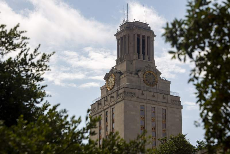 The University of Texas tower on July 16, 2020.