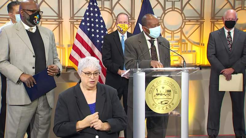 Houston Mayor Sylvester Turner answers a question during a news conference at City Hall on Feb. 1, 2021.