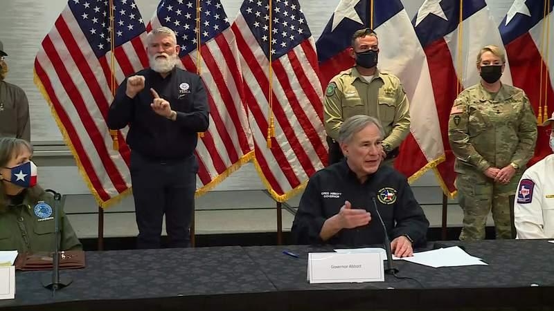 Texas Gov. Greg Abbott speaks during a news conference in Austin, Texas, on Feb. 18, 2021.