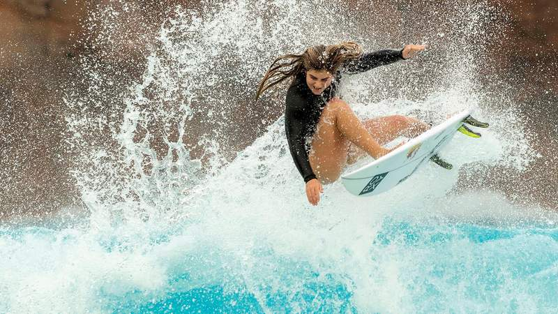 Teen pro surfing phenom Caroline Marks, the 17-year-old who recently earned a spot on the first-ever U.S. Olympic womens surfing team, caught some waves at Disneys Typhoon Lagoon.  Caroline Marks Rides The Waves At Visit Disney S Typhoon Lagoon
