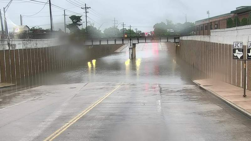 Storms hitting parts of the Houston area, causing street flooding
