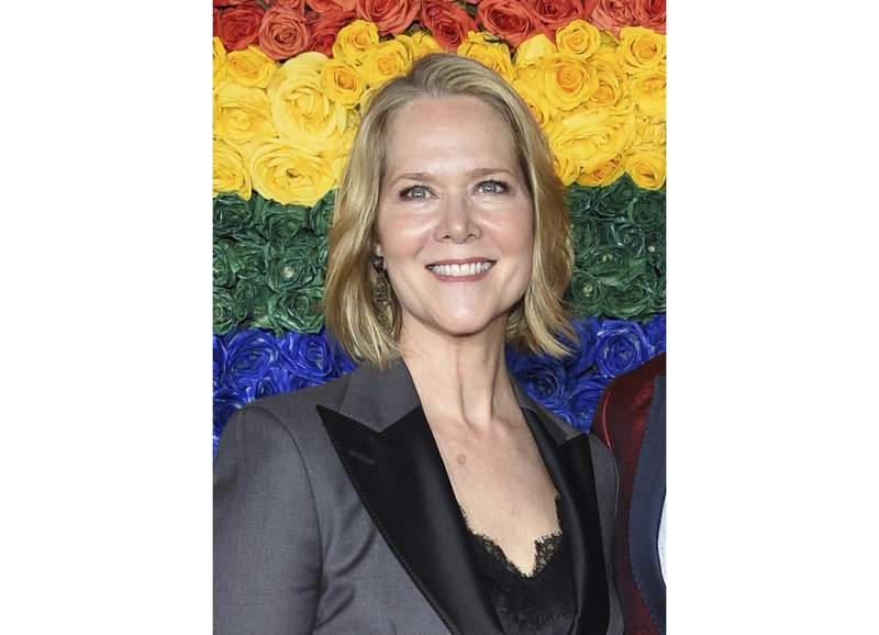 FILE - Rebecca Luker appears at the 73rd annual Tony Awards in New York on June 9, 2019. Luker, 59, a three-time Tony nominated actor, died Dec. 23, 2020. Some of Broadway's biggest stars are joining together to pay tribute to Luker and raise money to fight Lou Gehrigs disease. Kristin Chenoweth, Laura Benanti, Sierra Boggess, Michael Cerveris, Victoria Clark, Santino Fontana, Judy Kuhn, Howard McGillin, Norm Lewis, Kelli OHara and Sally Wilfert will perform in a show Tuesday night that will feature stories and songs from Lukers career. (Photo by Evan Agostini/Invision/AP, File)