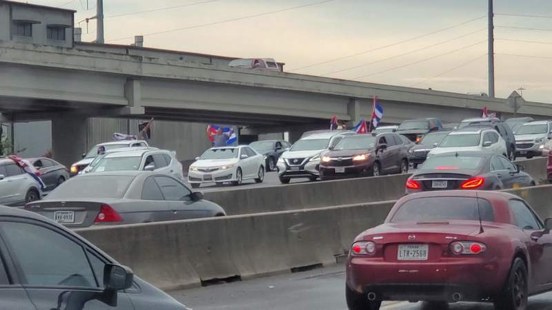 Demonstrators in Houston blocked the Southwest Freeway during rush hour traffic in support of Cuba on Tuesday