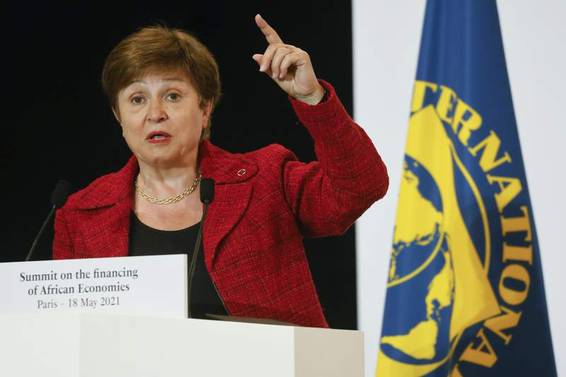 FILE - In this May 18, 2021 file photo, International Monetary Fund Managing Director Kristalina Georgieva speaks at the end of the Financing of African Economies Summit, in Paris. The governing body of the IMF on Monday, Aug. 2 approved a $650 billion expansion in the agency's resources to support economically vulnerable countries battling the coronavirus pandemic and the economic downturn it has caused. This is a historic decision ... and a shot in the arm for the global economy at a time of unprecedented crisis, Georgieva said. It will particularly help our most vulnerable countries struggling to cope with the impact of the COVID-19 crisis. (Ludovic Marin, Pool via AP, File)