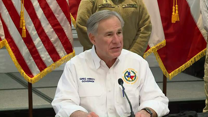 Texas Gov. Greg Abbott speaks during a news conference in Austin, Texas, on Feb. 19, 2021.