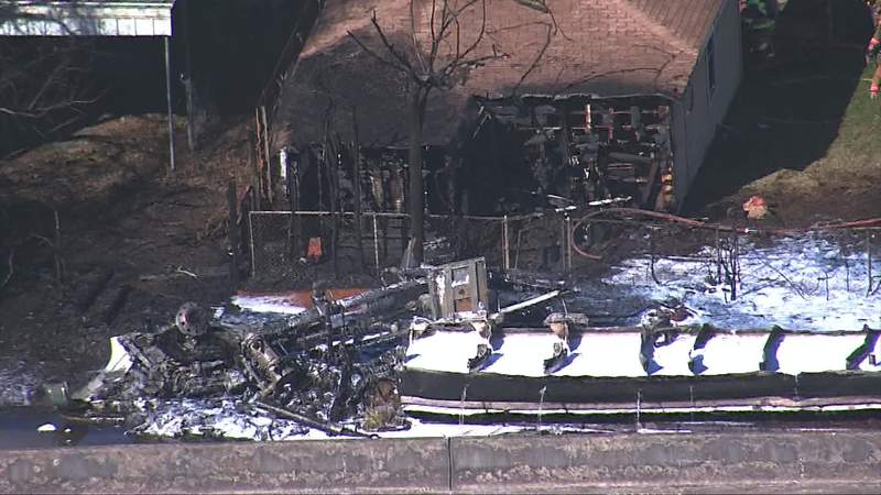 Fire damage is seen after a big rig crash in north Houston on Jan. 5, 2020.