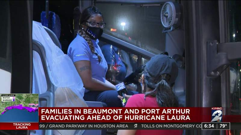 Families in Beaumont and Port Arthur evacuating ahead of Hurricane Laura