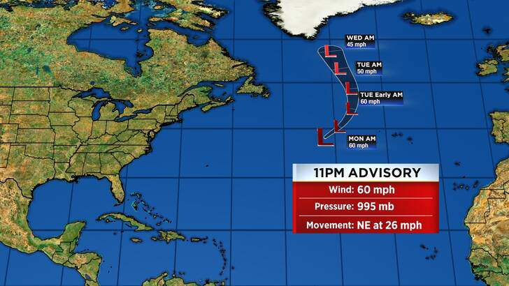 Tropics Forecast Cone at 3:57 Monday Night, August 30th
