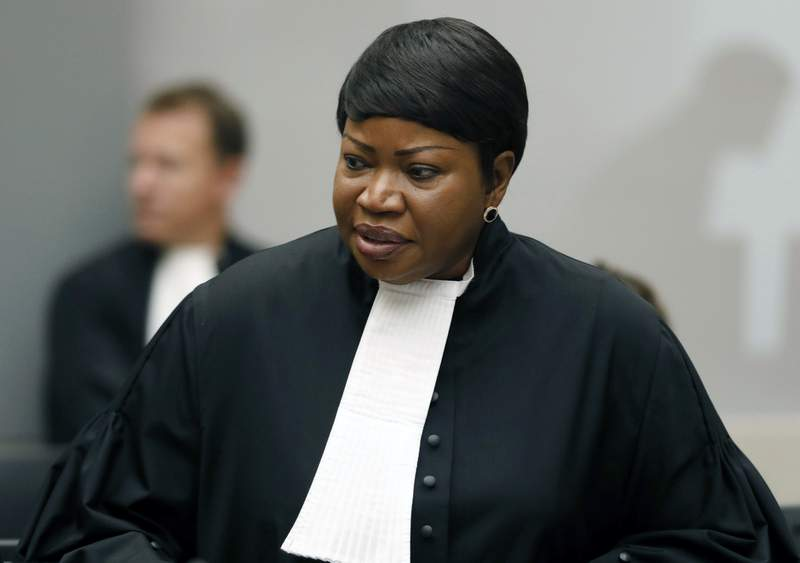 FILE - In this Tuesday Aug. 28, 2018 file photo, Prosecutor Fatou Bensouda at the International Criminal Court (ICC) in The Hague, Netherlands.  The ICC says its jurisdiction extends to territories occupied by Israel in the 1967 Mideast war, appearing to clear the way for its chief prosecutor to open a war crimes probe into Israeli military actions.  Bensouda, said in 2019 that there was a reasonable basis to open a war crimes probe into Israeli military actions in the Gaza Strip as well as Israeli settlement construction in the West Bank.  (Bas Czerwinski/Pool file via AP, File)