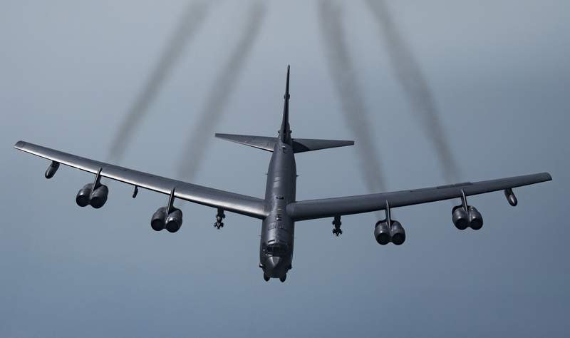 FILE - In this May 21, 2019 photo provided by the U.S. Air Force, a U.S. B-52H Stratofortress, prepares to fly over Southwest Asia.  Two American bomber aircraft have flown over a swath of the Middle East, sending what U.S. officials say is a message of deterrence to Iran. The flight of the two massive B-52H Stratofortress bombers over the region on Thursday was the second such mission in less than a month. It was designed to underscore Americas continuing commitment to the Middle East even as President Donald Trump's administration withdraws thousands of troops from Iraq and Afghanistan.  (Senior Airman Keifer Bowes/U.S. Air Force via AP)