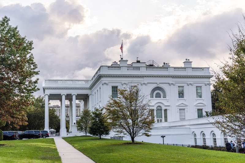 The White House is shown Friday, Oct. 2, 2020, in Washington. (AP Photo/Manuel Balce Ceneta)