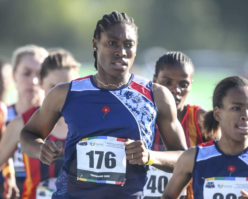 FILE  In this Thursday, April 15, 2021 file photo South African long distance athlete Caster Semenya on her way to winning the 5,000 meters at the South African national championships in Pretoria, South Africa, Olympic champion Semenya was sentenced to 50 hours of community service for speeding while driving in South Africa, prosecutors said Wednesday May 12, 2021. (AP Photo/Christiaan Kotze/File)