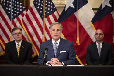 Gov. Greg Abbott announced a strike force in charge of laying steps to reopen the Texas economy at a press conference in the Capitol on April 17, 2020.      Miguel Gutierrez Jr./The Texas Tribune