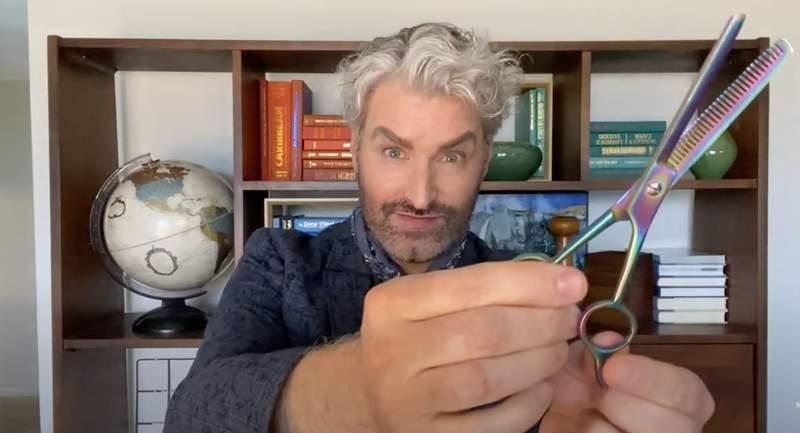 Style editor Jon Jordan showing off thinning shears.