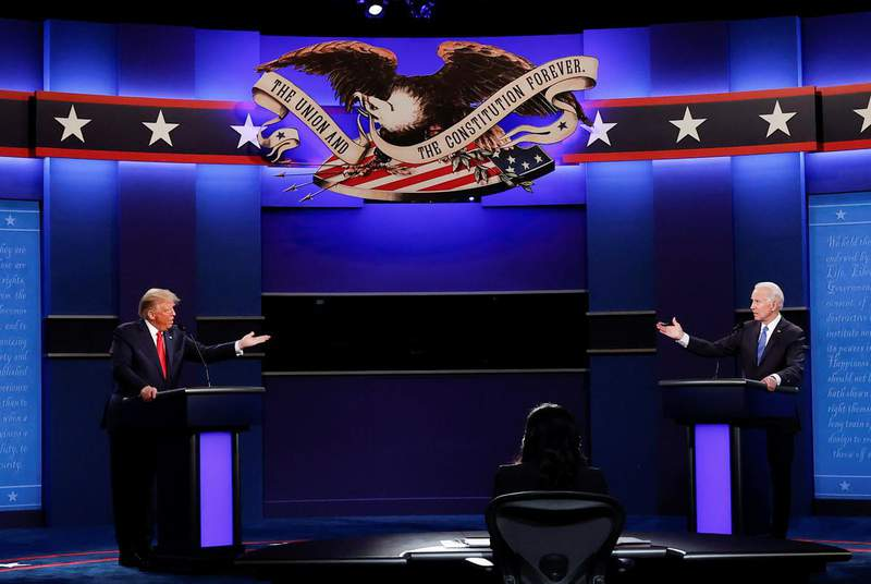 In their final debate before the Nov. 3 election, President Donald Trump and Democratic presidential nominee Joe Biden squared off over the oil and gas industry and global warming.                    Credit: REUTERS/Mike Segar