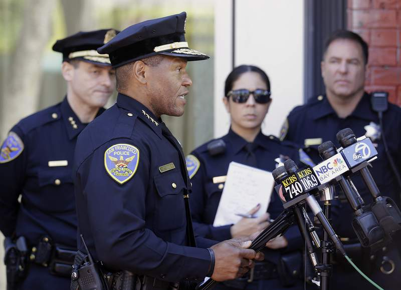 FILE - In this May 3, 2017, file photo, San Francisco Police Chief Bill Scott speaks to reporters in San Francisco. San Francisco saw an increase in shootings in the first half of 2021 compared to the same period in 2020, and a slight uptick in aggravated assaults like those seen in viral videos. Scott said, Monday, July 12, 2021, that retail robberies have declined despite brazen thefts caught on video. (AP Photo/Jeff Chiu, File)