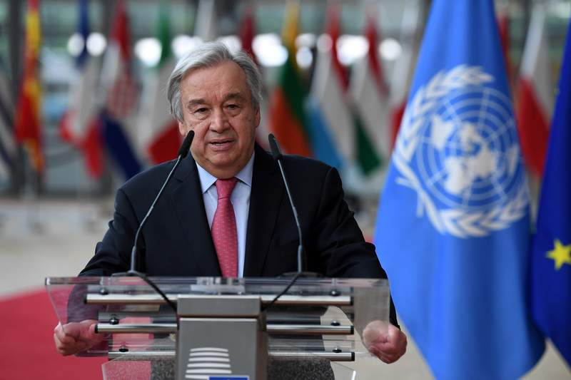 FILE - In this June 24, 2021 file photo, United Nations Secretary General Antonio Guterres addresses journalists during an EU summit at the European Council building in Brussels.  Guterres has issued a dire warning, Saturday, Sept. 11,  that the world is moving in the wrong direction and faces a pivotal moment.  (John Thys, Pool Photo via AP, File)