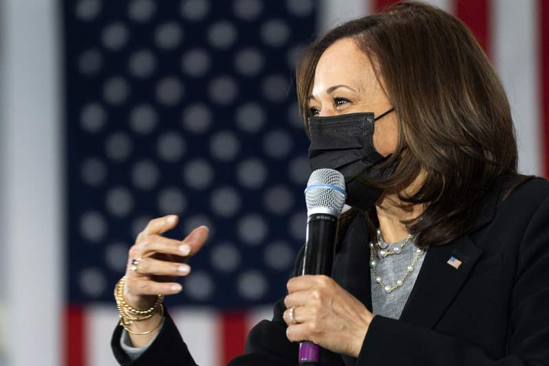 FILE - In this Friday, April 23, 2021, file photo, Vice President Kamala Harris speaks at the IBEW Training Center in Concord, N.H. Harris will make the case before United Nations members on Monday, April 26, 2021, that now is the time for global leaders to begin putting the serious work into how they will respond to the next global pandemic. (AP Photo/Jacquelyn Martin, File)