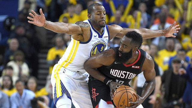 Andre Iguodala #9 of the Golden State Warriors closely guards James Harden #13 of the Houston Rockets during Game One of the Second Round of the 2019 NBA Western Conference Playoffs at ORACLE Arena on April 28, 2019 in Oakland, California. (Photo by Thearon W. Henderson/Getty Images)