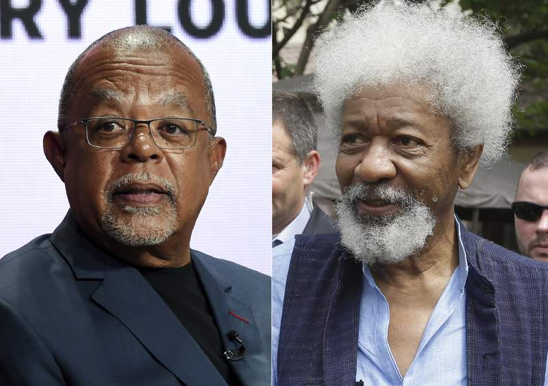 """Dr. Henry Louis Gates Jr., host and executive producer of the PBS series """"Finding Your Roots,"""" takes part in a panel discussion during the 2019 Television Critics Association Summer Press Tour on July 29, 2019, in Beverly Hills, Calif., left, and Nigerian Nobel Laureate professor Wole Soyinka appears in Lagos, Nigeria on Feb. 9, 2016. Soyinka will be attending this falls PEN America literary gala. He will fly in from his native Nigeria to help present an award to the author, scholar and filmmaker Henry Louis Gates Jr.  (AP Photo)"""
