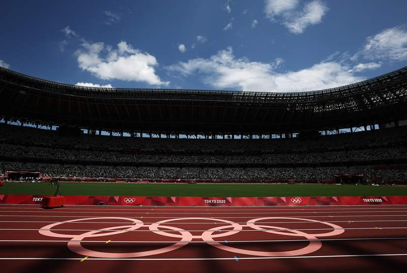 TOKYO, JAPAN - JULY 29: General views inside the Olympic Stadium, host to the Athletics competition, at the Tokyo Olympic Games on July 29, 2021 in Tokyo, Japan. (Photo by Ryan Pierse/Getty Images)