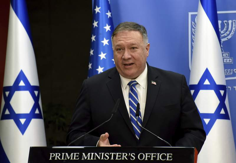 U.S. Secretary of State Mike Pompeo speaks during a joint statement to the press with Israeli Prime Minister Benjamin Netanyahu after their meeting, in Jerusalem, Monday, Aug. 24, 2020. (Debbie Hill/Pool via AP)