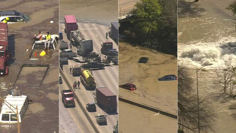 These four images were taken from video recorded by SKY 2 of flooding in east Houston on Feb. 27, 2020.