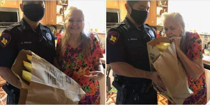 Deputy Galvan performed a good deed by buying groceried for an elderly woman who needed them.