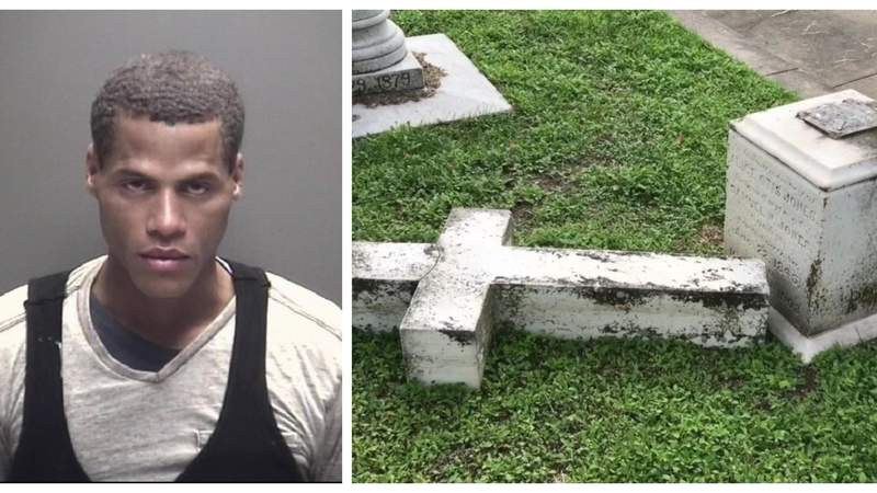 35-year-old Eric Deshaun Williams faces a felony charge after being accused of damaging headstones at a historic cemetery in Galveston on Nov. 30, 2019.