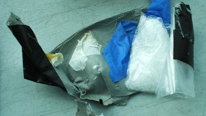 A bag of crystal meth that officials say was found in a burrito during a screening at Hobby Airport in Houston on April 2, 2021.