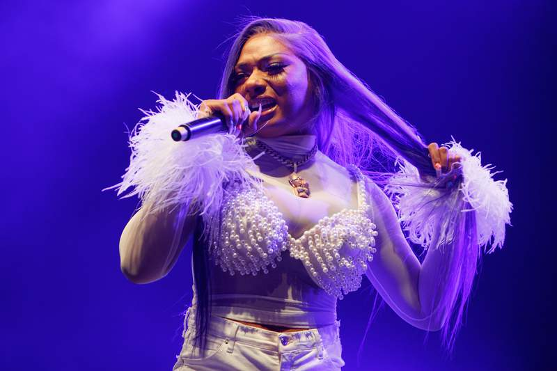 LONDON, ENGLAND - JULY 03: Megan Thee Stallion performs on stage at O2 Academy Brixton on July 03, 2019 in London, England. (Photo by Burak Cingi/Redferns)