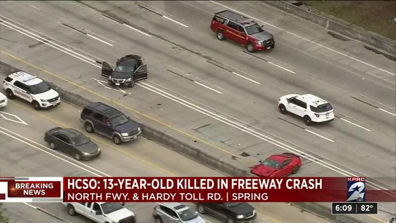 13-year-old killed, multiple people hurt in 2-vehicle crash on North Freeway, HCSO says