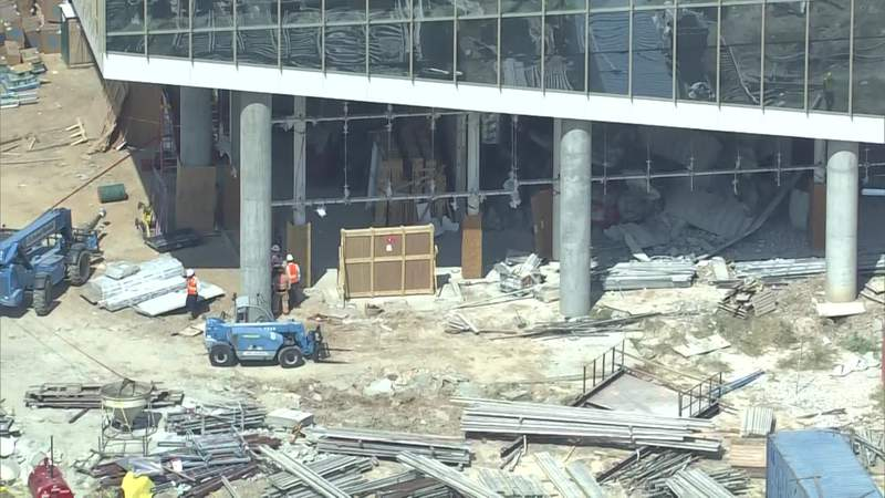 Part of a building under construction in Houston appears to be damaged after a report of a collapse Oct. 5, 2020.