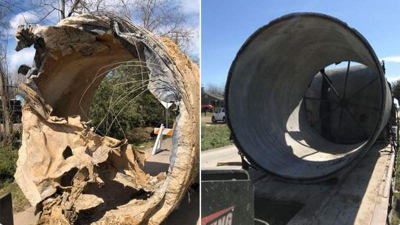 Picture of 8-foot water main break is the culprit that caused the boil water notice