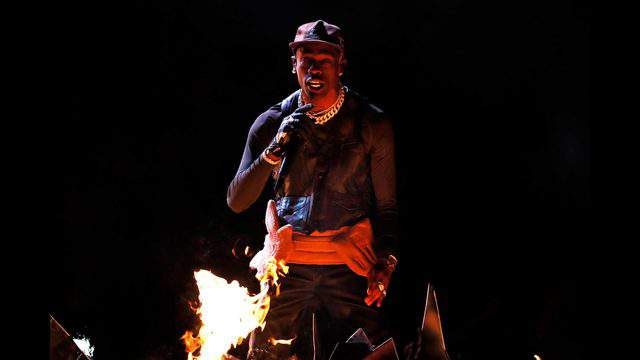 ATLANTA, GA - FEBRUARY 03:  Travis Scott performs during the Pepsi Super Bowl LIII Halftime Show at Mercedes-Benz Stadium on February 3, 2019 in Atlanta, Georgia.  (Photo by Kevin C. Cox/Getty Images)
