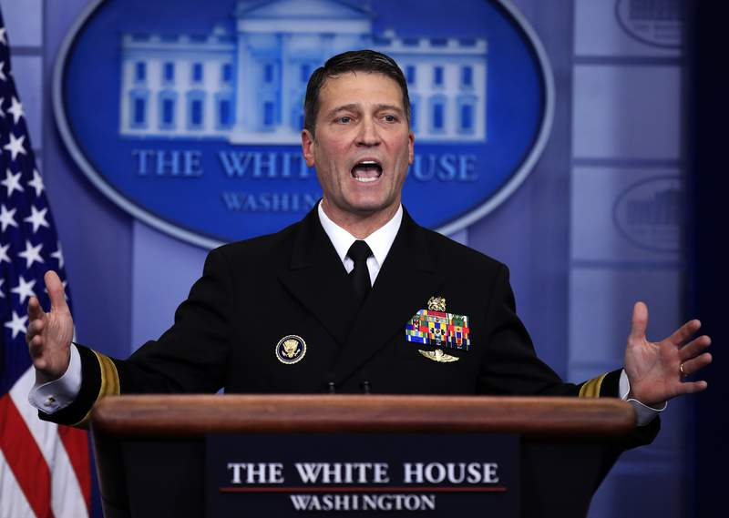 FILE - In this Jan. 16, 2018, file photo, then-White House physician Dr. Ronny Jackson speaks to reporters during the daily press briefing at the White House, in Washington. The Department of Defense inspector general has released a scathing report on the conduct of Ronny Jackson, now a congressman from Texas, when he worked as a top White House physician. (AP Photo/Manuel Balce Ceneta, File)