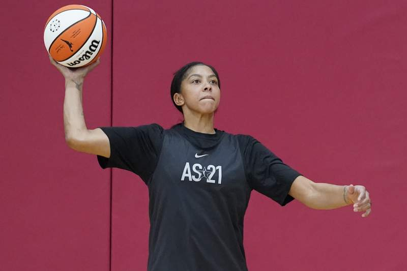 Candace Parker looks to pass during practice for the WNBA All-Star Basketball team, Tuesday, July 13, 2021, in Las Vegas. (AP Photo/John Locher)