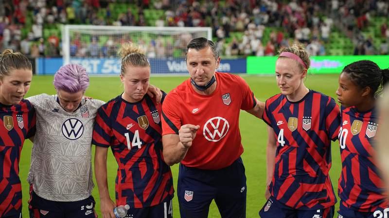 U.S. Women's National Team head coach Vlatko Andonovski speaks to his players after 2021 Summer Series game against Nigeria at Q2 Stadium in Austin, Texas.