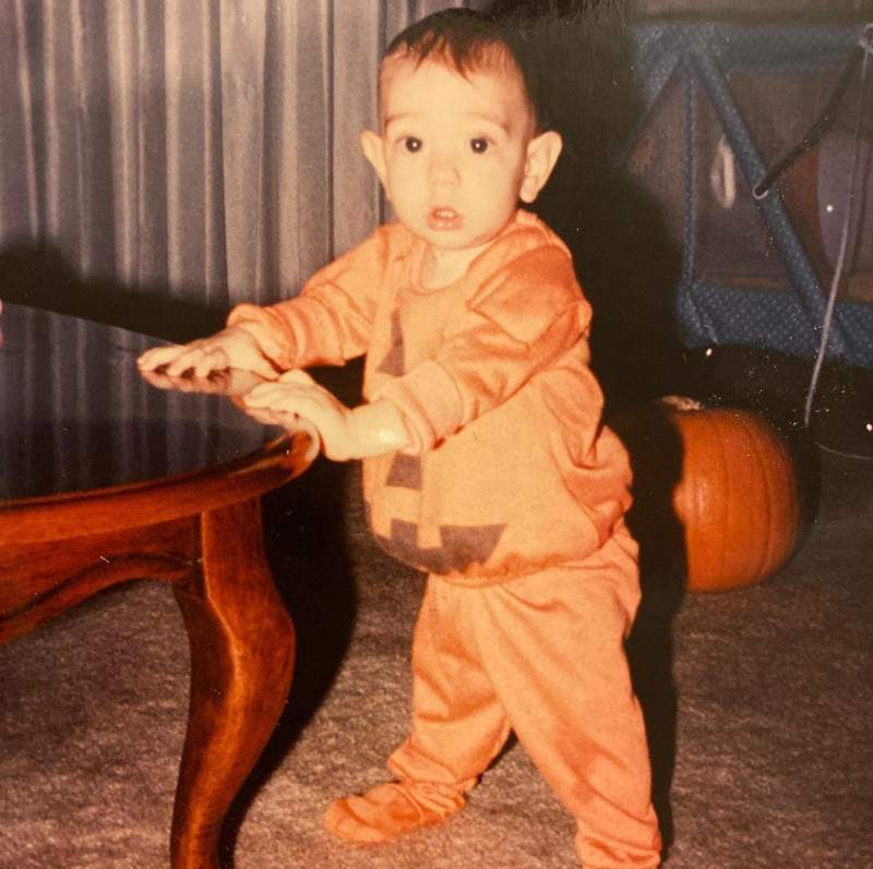 Our son, Morgan, on his first Halloween, 1988!