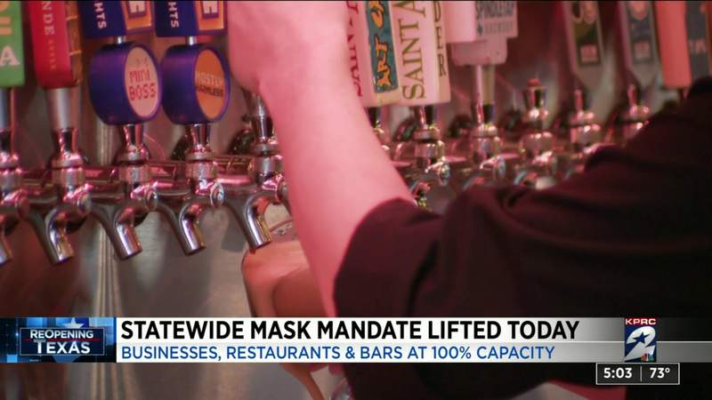Statewide mask mandate lifted today for businesses, restaurants and bars
